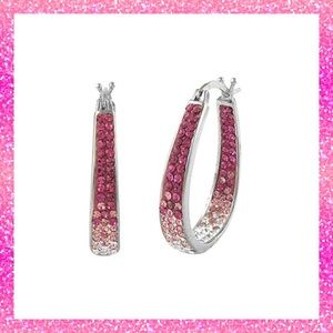 NWT- Pink Swarovski & 18k white gold hoop earrings